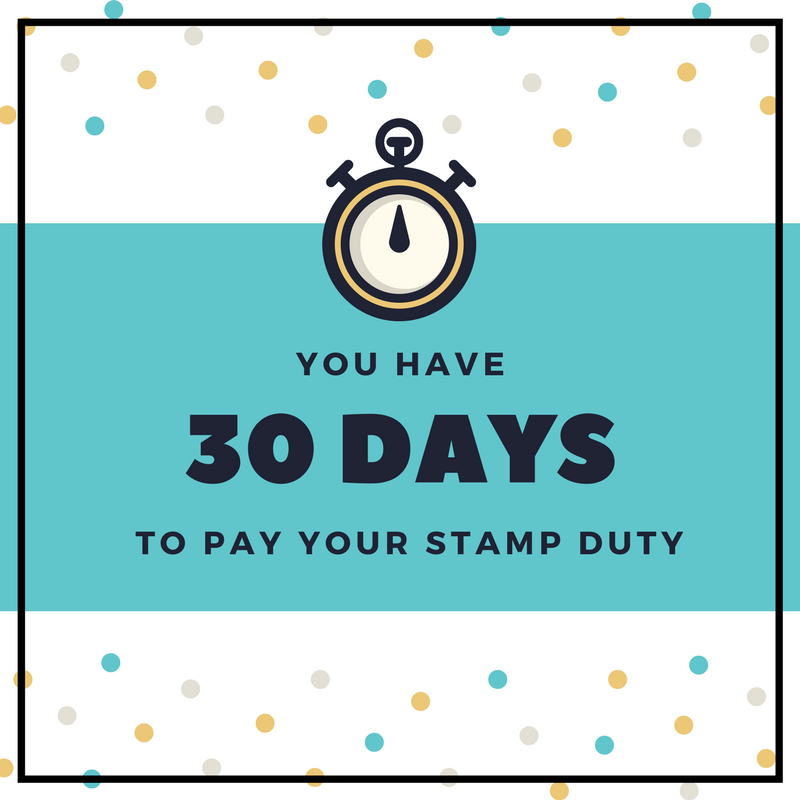 You have 30 days to pay stamp duty after completion